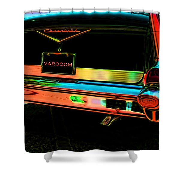 1957 Chevy Art Red Varooom Shower Curtain