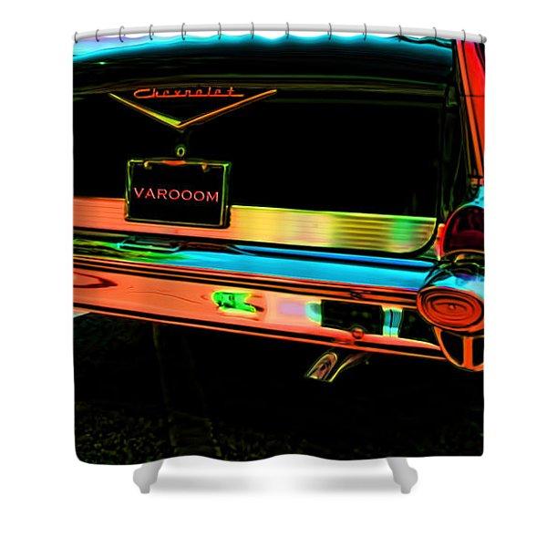 1957 Chevy Art Red Varooom Shower Curtain
