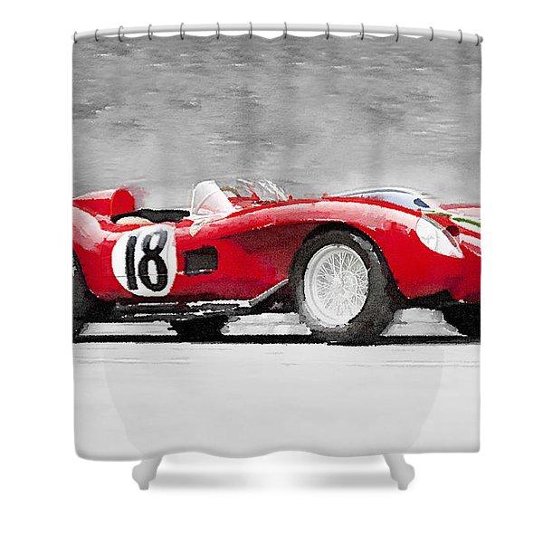 1957 Ferrari Testarossa Watercolor Shower Curtain