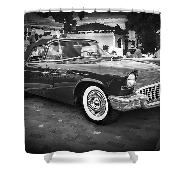 1957 Ford Thunderbird Convertible Bw Shower Curtain