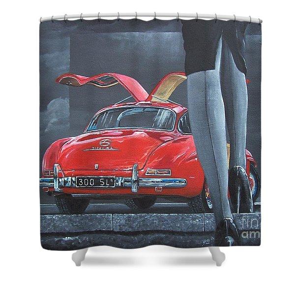 1957 Mercedes Benz 300 Sl Gullwing Coupe Shower Curtain
