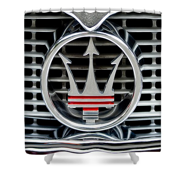 1958 Maserati Hood - Grille Emblem -0606c45 Shower Curtain