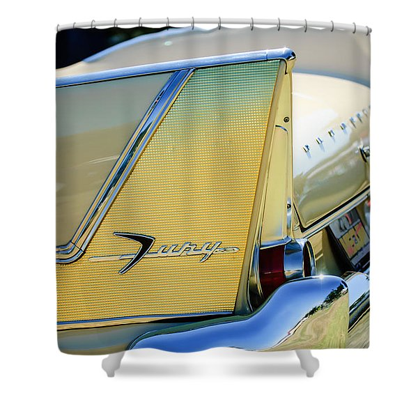 1958 Plymouth Fury Golden Commando Taillight Emblem -3447c Shower Curtain