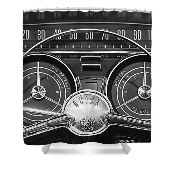 1959 Buick Lasabre Steering Wheel Shower Curtain