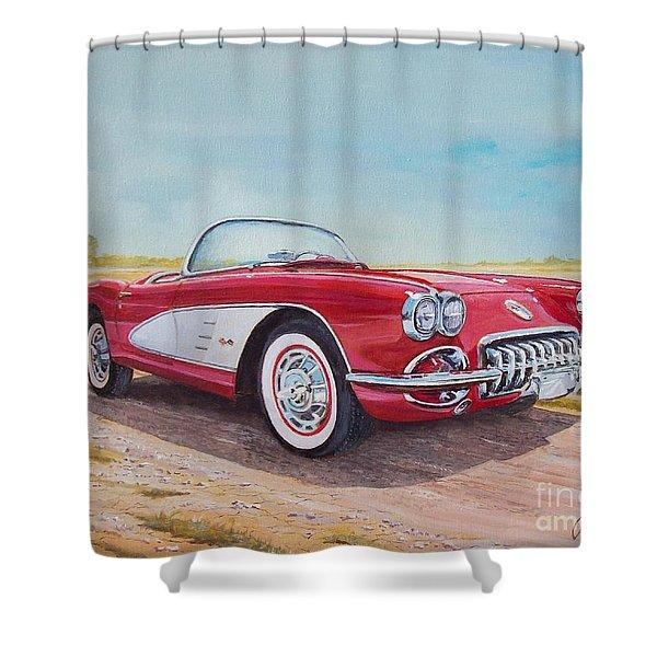 1959 Chevrolet Corvette Cabriolet Shower Curtain