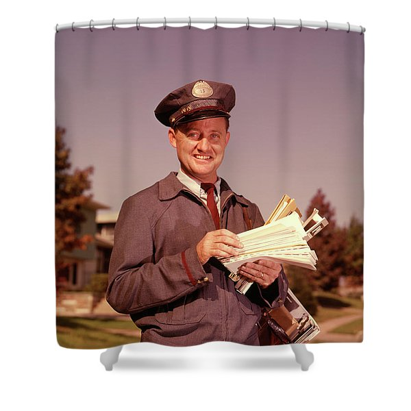 1960 1960s Smiling Mailman Holding Shower Curtain
