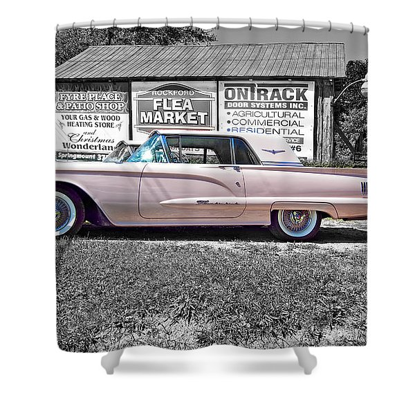 1960 Thunderbird Bw Shower Curtain