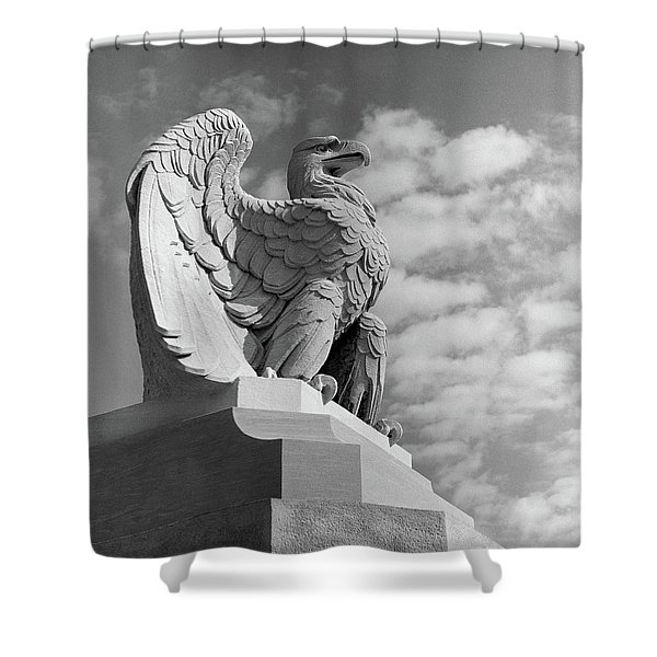 1960s Eagle Statue Against Sky Clouds Shower Curtain