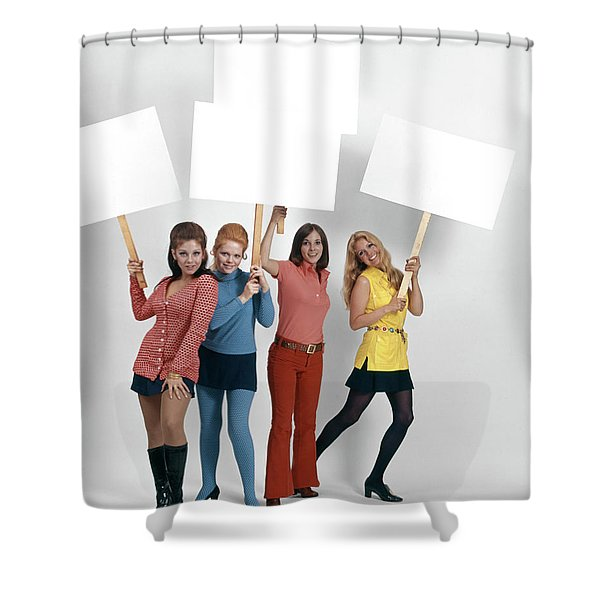 1960s Four Women Protesters Holding Shower Curtain