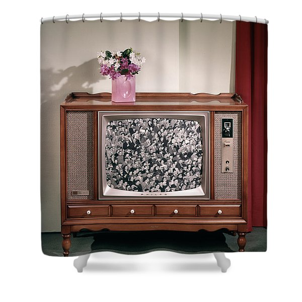 1960s Large Console Television Shower Curtain