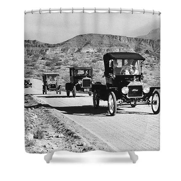 1960s Line Of 1920s Model T And 1930s Shower Curtain