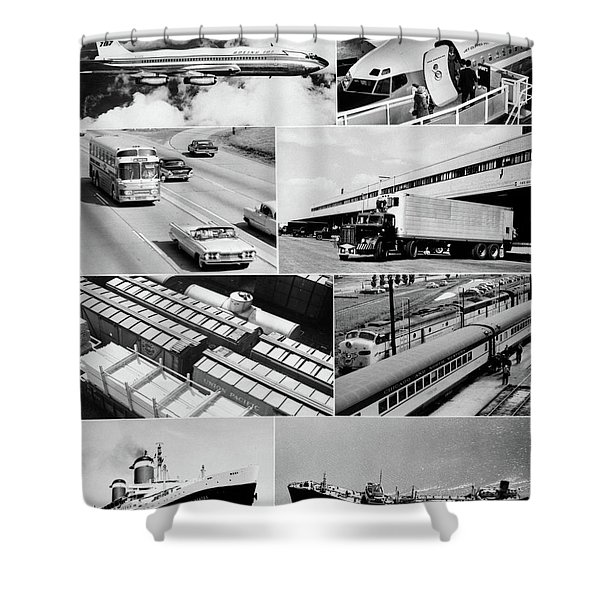 1960s Montage Of Various Forms Shower Curtain