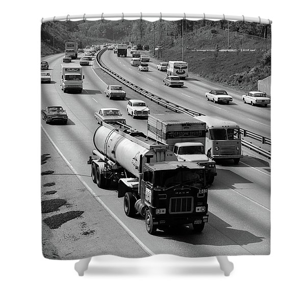 1960s Tanker Truck Traveling On Busy Shower Curtain