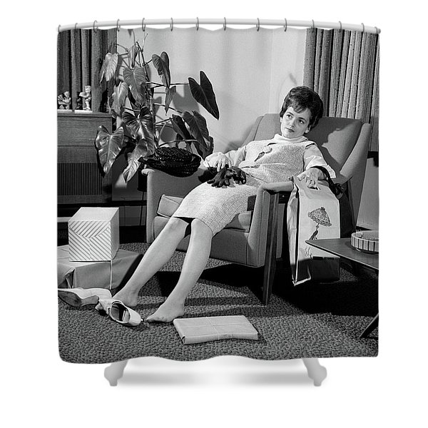 1960s Woman Plopped Down In Armchair Shower Curtain