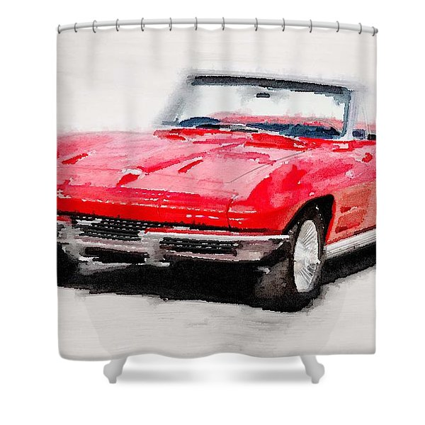 1964 Corvette Stingray Watercolor Shower Curtain