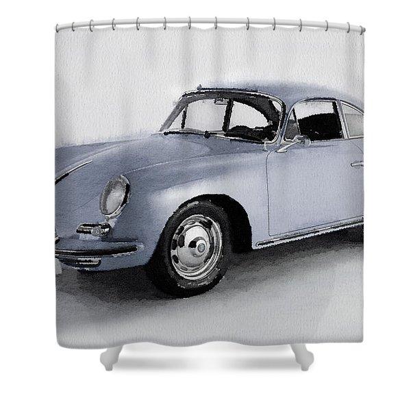 1964 Porsche 356b Watercolor Shower Curtain