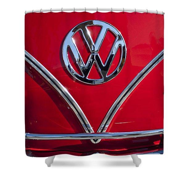 1964 Volkswagen Vw Double Cab Emblem Shower Curtain