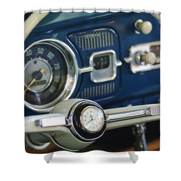 1965 Volkswagen Vw Beetle Steering Wheel Shower Curtain