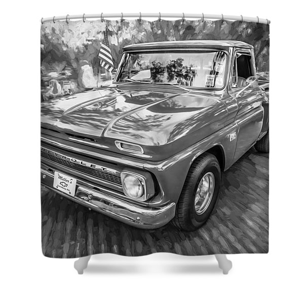 1966 Chevy C10 Pick Up Truck Painted Bw Shower Curtain