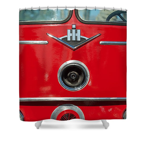 1966 International Harvester Pumping Ladder Fire Truck - 549 Ford Gas Motor Shower Curtain