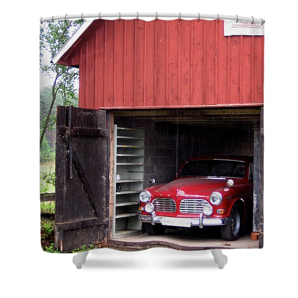 1967 Volvo In Red Sweden Barn Shower Curtain