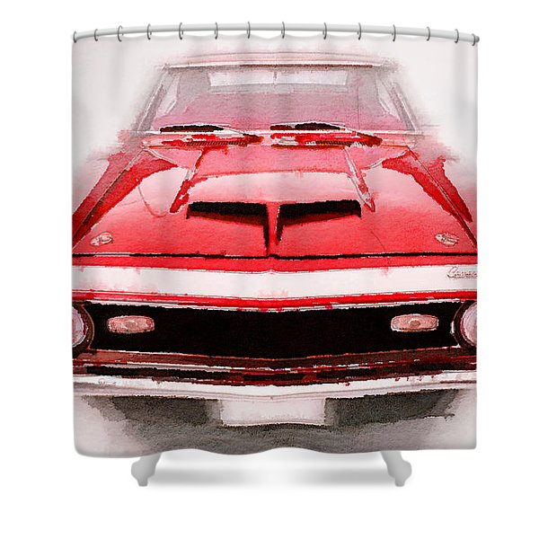 1968 Chevy Camaro Front End Watercolor Shower Curtain