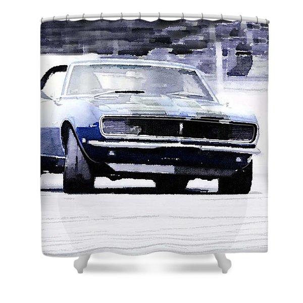 1968 Chevy Camaro Watercolor Shower Curtain