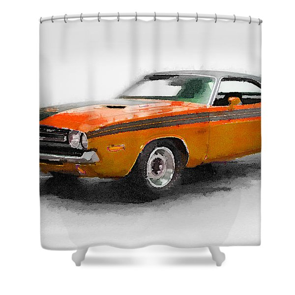 1968 Dodge Challenger Watercolor Shower Curtain