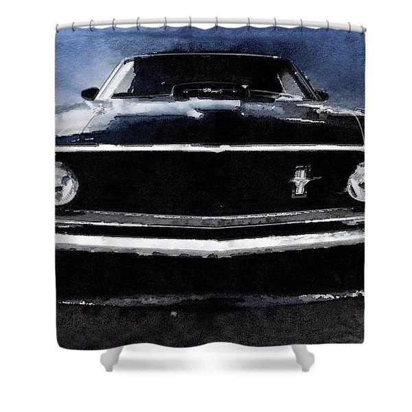 1968 Ford Mustang Shelby Front Watercolor Shower Curtain