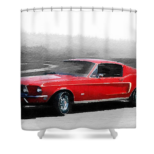 1968 Ford Mustang Watercolor Shower Curtain