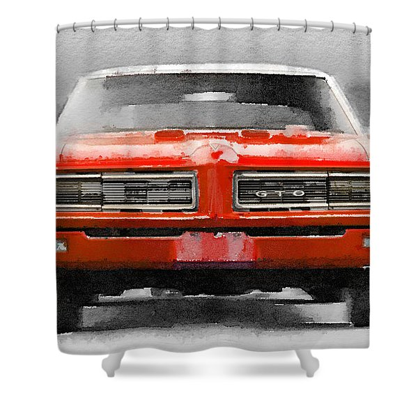 1968 Pontiac Gto Front Watercolor Shower Curtain