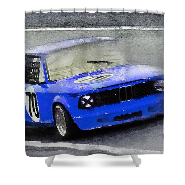 1969 Bmw 2002 Racing Watercolor Shower Curtain