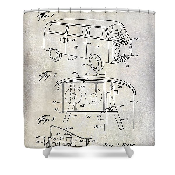 1970 Vw Patent Drawing Shower Curtain