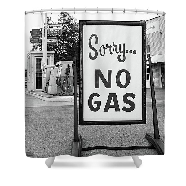 1970s 1973 Sorry No Gas Sign Beside Gas Shower Curtain