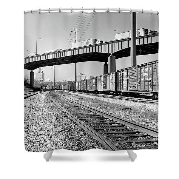 1970s Angled View Of Freight Train Shower Curtain
