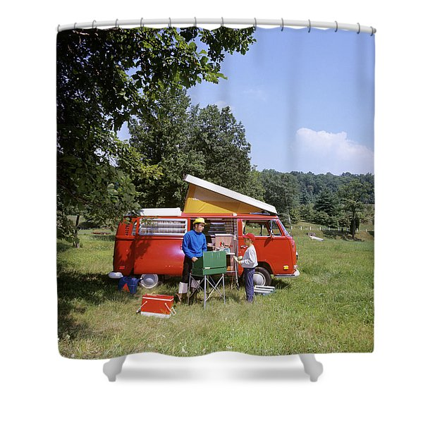 1970s Father And Son Cooking Shower Curtain