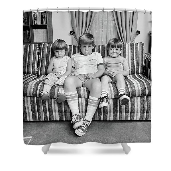 1970s Three Siblings Sitting On Couch Shower Curtain