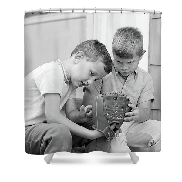 1970s Two Boys Seriously Inspecting New Shower Curtain
