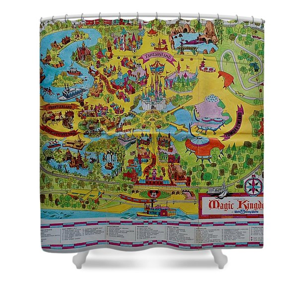 1971 Original Map Of The Magic Kingdom Shower Curtain