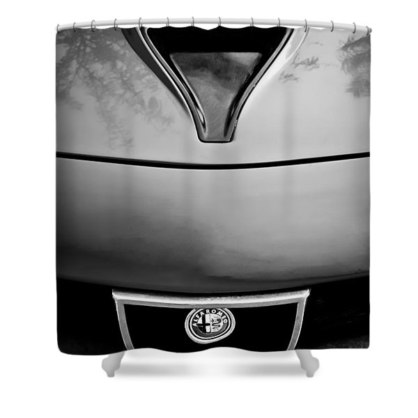 1972 Alfa Romeo Montreal Hood - Grille Emblem -0172bw Shower Curtain