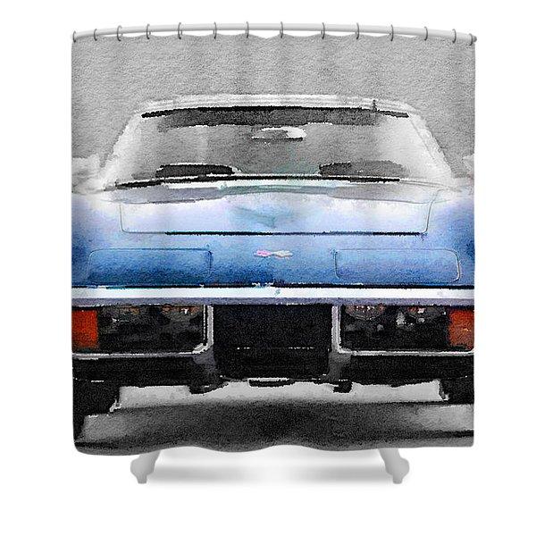 1972 Corvette Front End Watercolor Shower Curtain