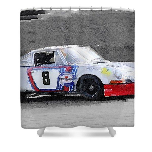 1973 Porsche 911 Watercolor Shower Curtain