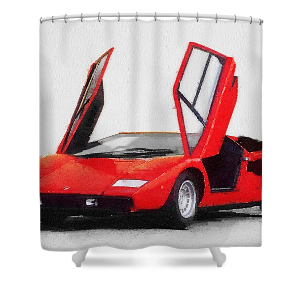 1974 Lamborghini Countach Open Doors Watercolor Shower Curtain