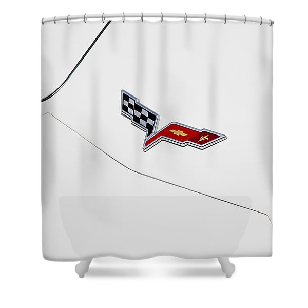1977 Corvette And New Corvette Emblem Shower Curtain