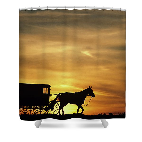 1980s Amish Horse And Buggy Silhouetted Shower Curtain