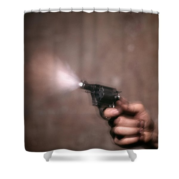 1980s Blur Motion Of A Hand Shooting Shower Curtain
