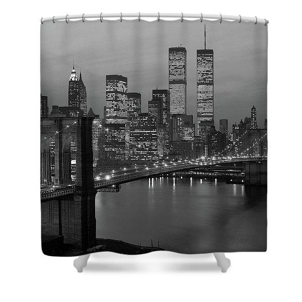 1980s New York City Lower Manhattan Shower Curtain