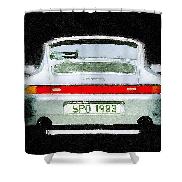 1993 Porsche 911 Rear Watercolor Shower Curtain
