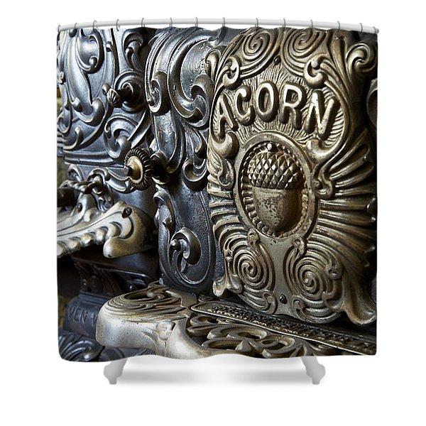 19th Century Acorn Cast Iron Stove White Pine Village Ludington Michigan Shower Curtain
