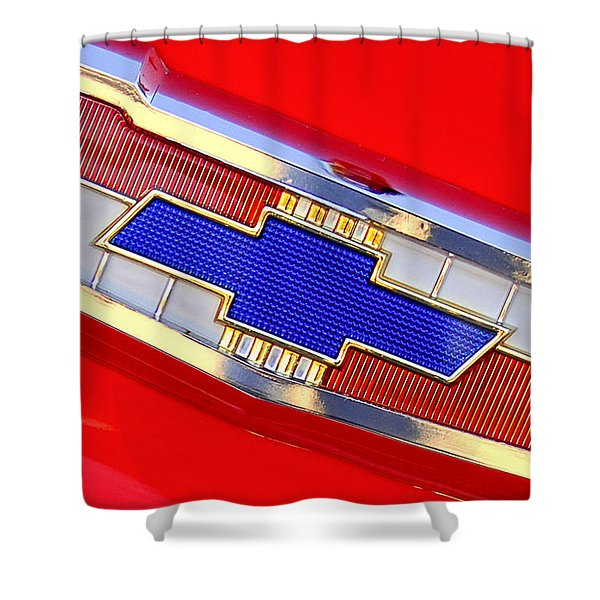 1955 Chevrolet Belair Nomad Emblem Shower Curtain